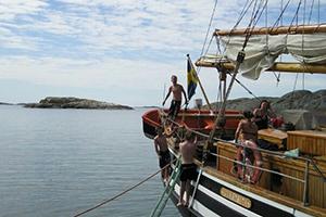 Bad från båten Kvartsita